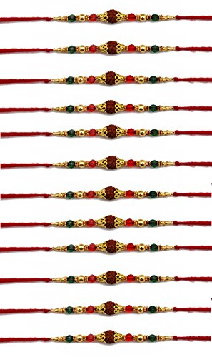 12 Pcs Rakhi Set for Bhaiya, Bhabhi on Indian Rakhi Rakshabandhan Festival, Thread / Bracelet/ Rakhi for Brother, Best Gift for Brother on Rakshabandhan. Rudraksh Design.