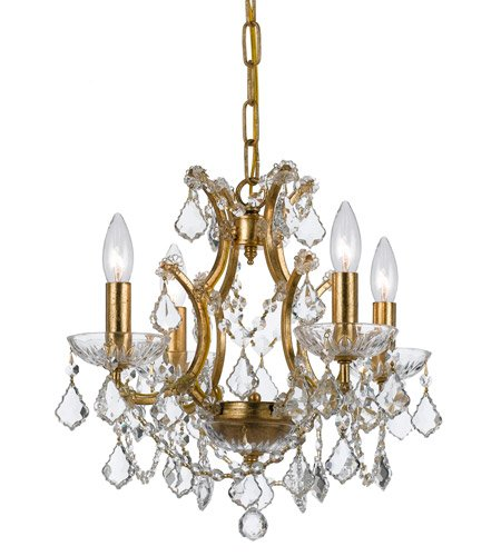 - Mini Chandeliers 4 Light With Antique Gold Clear Swarovski Strass Crystal Wrought Iron 18 inch 240 Watts - World of Lighting