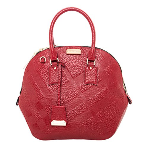 Burberry Women's Medium Orchard in Embossed Check Military Red