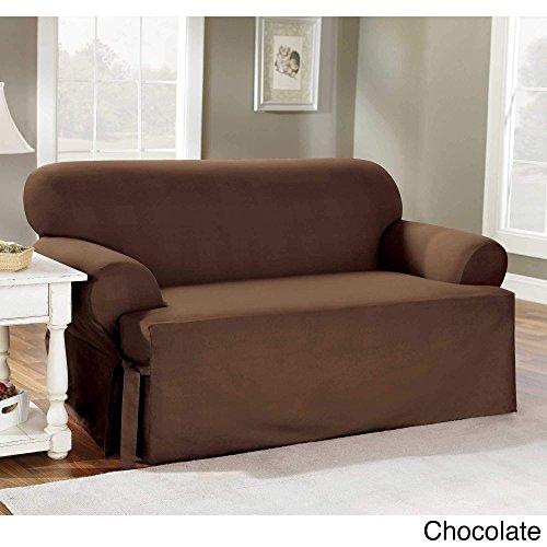 Sure Fit Cotton Duck T-Cushion Sofa Slipcover
