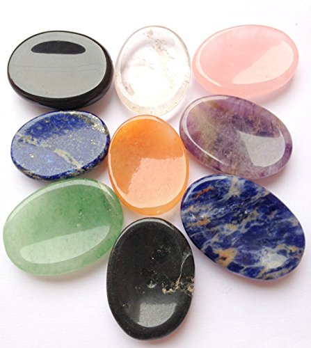 CRYSTALMIRACLE Beautiful Lot of Nine Gemstone Worry Stones Reiki Crystal Healing Wellness Gift Metaphysical Thumb Stone Powerful Meditation Concentration Spiritual Growth Protective