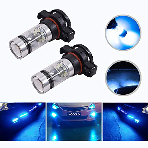 HOCOLO 2504 PSX24W 100W Samsung Chip LED Fog Light Lamp Bulbs DRL Driving Lights 8000K Ice Blue High Power LED Bulbs Car Vehicle Lighting Accessories (Set of 2) (2504 PSX24W -Ice Blue 100W -Fog)