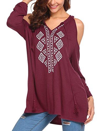 Elover Women Long Sleeve Floral Boho Style V-Neck Off Shoulder Top Blouses Shirts Red L Off Shoulder Boho Top Shirt