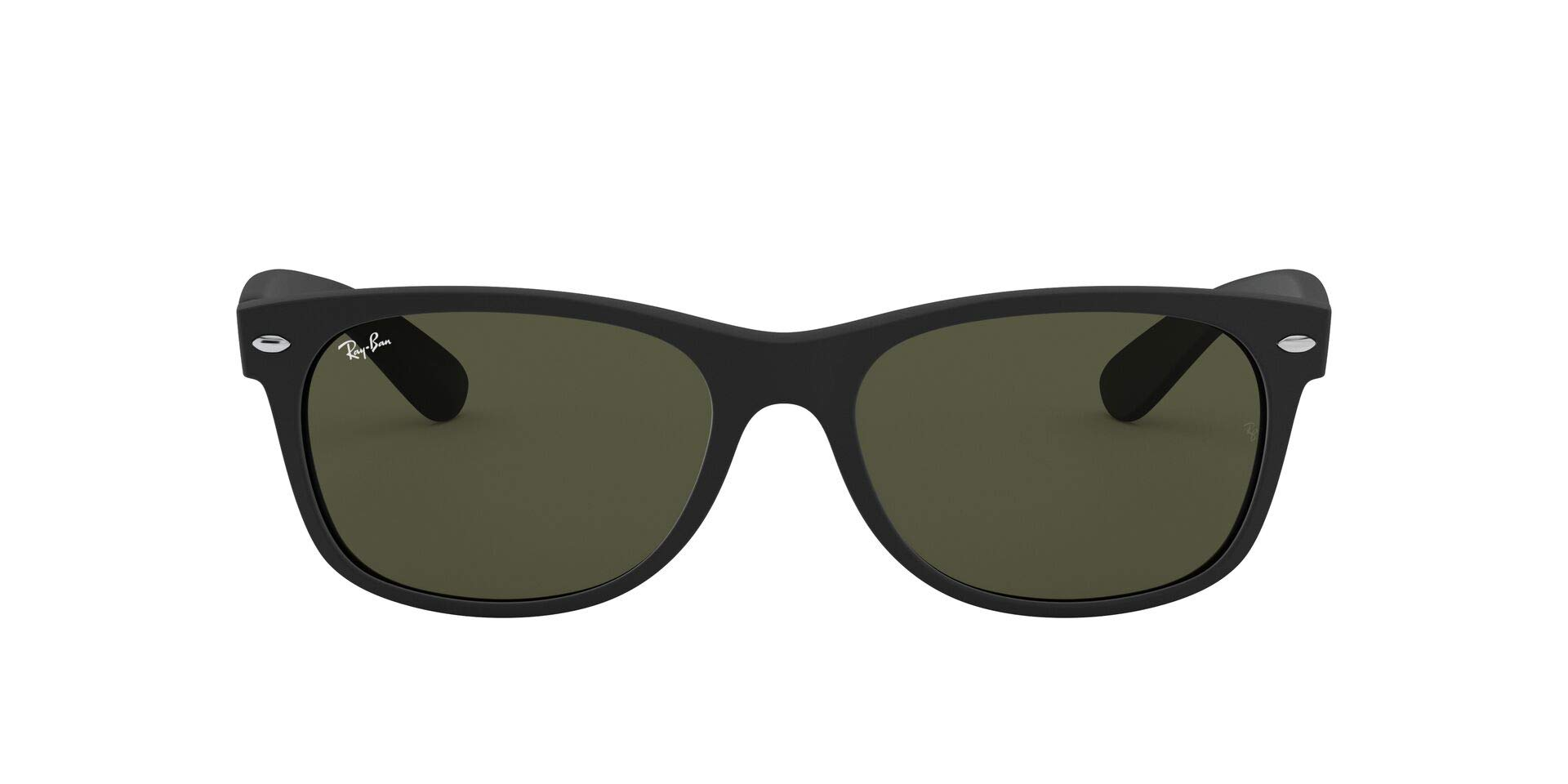 Ray-Ban RB2132 New Wayfarer Sunglasses, Black Rubber/Green, 52 mm by Ray-Ban
