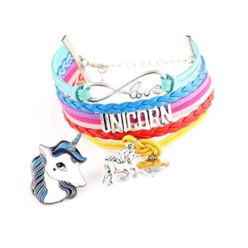 Dazzling Gift (Unicorn Gifts : Unicorn Rainbow Bracelets with 2 Love & Unicorn Charms PLUS Unicorns Pins Party Supplies Girls Unicorn Gifts (Dazzling Unicorn))