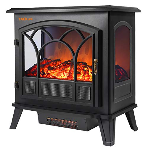 TACKLIFE Electric Fireplace Heater Adjustable Flame Portable Indoor Freestanding Fireplace Stove Dual Mode 750W-1500W 2600BTU-5200BTU CSA Certifie, with 3-D Flame Effect, Indoor Companion