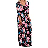 Rucan Summer Mommy and Daughter Maxi Long Dress Three Quarter Floral Family Matching Clothes (Black, Mom X-Large)