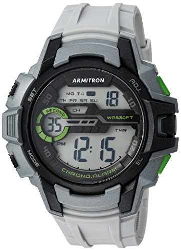 Armitron Sport Men's 40/8375LGY Green Accented Digital Chronograph Light Grey Resin Strap Watch