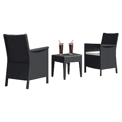 amazon com outdoor patio furniture set 3 pieces wicker look patio rh amazon com Resin Wicker Furniture wicker look outdoor dining chairs