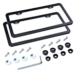 L-Fine Aluminum Alloy License Plate Frame Slim Bottom Design with Screw Set (Black 2 Holes)