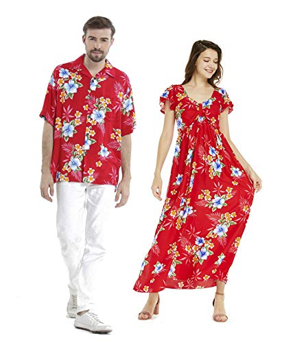 Couple Matching Hawaiian Luau Aloha Shirt Maxi Ruffle Sleeve Dress in Hibiscus Red 2XL