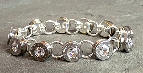 Swarovski Bullet Shell Casing Bracelet Diamond Rivoli and Sterling Silver Tennis Style Removed Primers