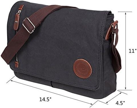 9099fb9f49 Losmile Canvas Messenger Bag Shoulder Bag Vintage Crossbody Laptop Bag  Satchel Bag School Bag Work Bag Sling Bag (Black)