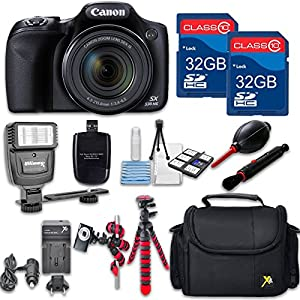 Canon Powershot SX530 (Black) HS Point and Shoot Digital Camera, W/ Case + 64GB Memory + Flash + Tripod + Case + Cleaning Kit + More – International Model
