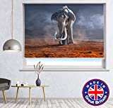 Printed Photo Blind - Elephant Landscape Scene Animal Printed Picture Photo Roller Blind Blackout & Standard Fabric - Custom Made Printed Window Blind - Custom Made Window Blind/Shade