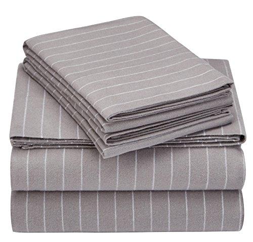 Pinzon 160 Gram Pinstripe Flannel Sheet Set - Full, Grey Pinstripe - PZ-PLFLAN-GP-FL