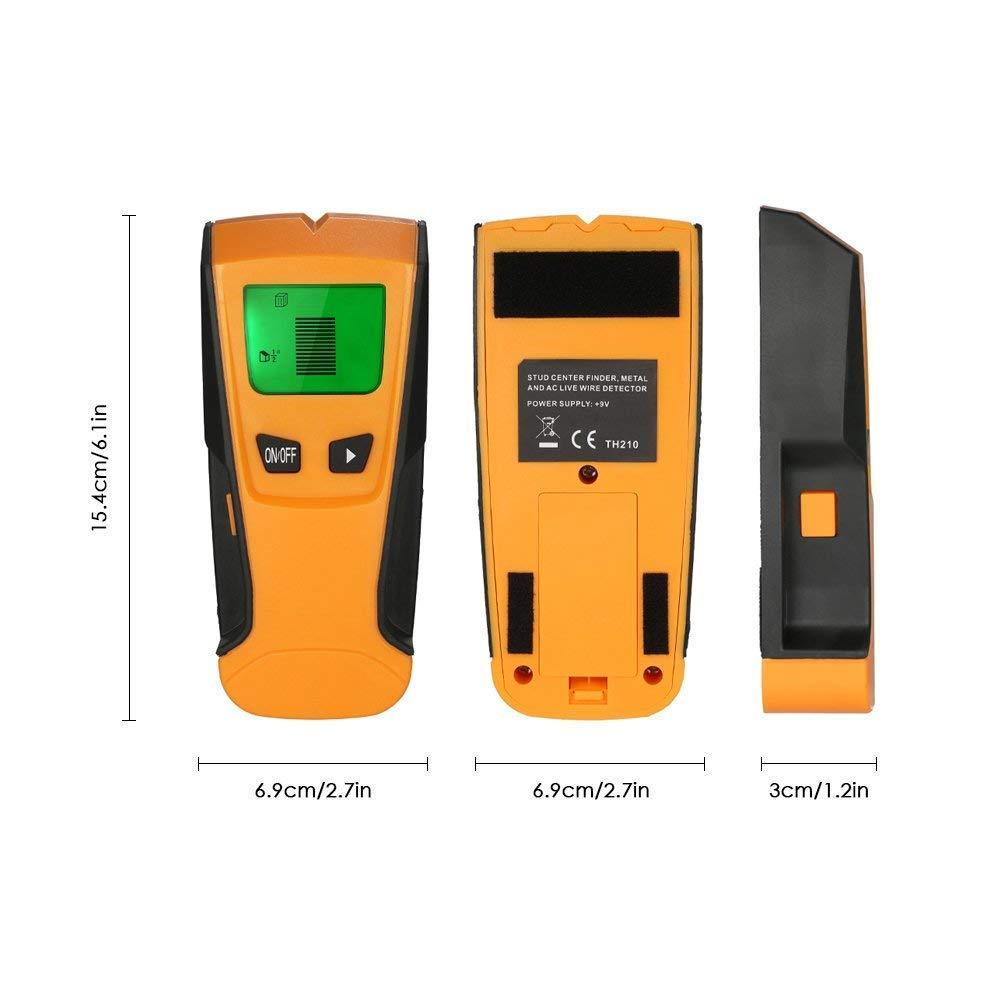 Flybiz Detector de Pared Encontrar Stud Finder con 3-en-1 Metal AC Alambres Escáner de Madera con Pantalla LCD Retroiluminada,Para Detecta AC Cable , Metal ...