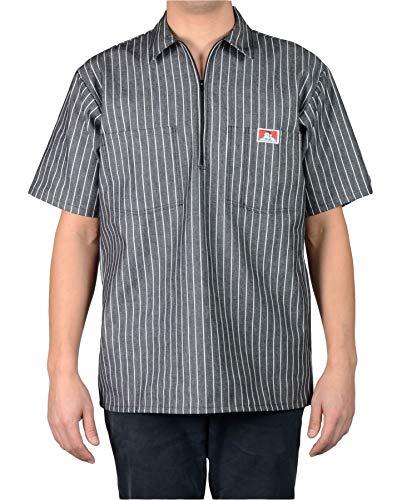 Ben Davis Men's Short Sleeved Half Zipper Work Shirt (Medium, Butcher Block Stripe Black)