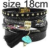 Worth summer leather bracelets Bohemian bracelets bangles jewelry for women,Khaki 17 cm,13.0Centimeters