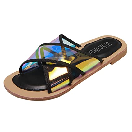 703671850141 Women Ladies Fashion Beach Sandals Hollow Out Casual Slippers Flats Shoes  (Black
