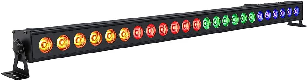 LED Stage Lights, OPPSK 96W 24LEDs Amber & RGB Wash Light Bar DMX Control Auto Play Sound Activated 40° ILLumination Angle Uplighting for Wedding Church Birthday DJ Stage Lighting Party Supply