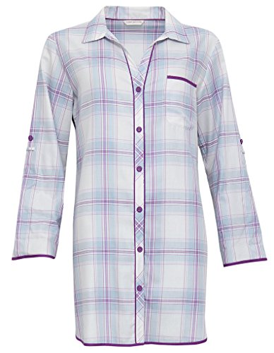 Cyberjammies 3289 Women's Elsie Blue and Purple Check Sleep Shirt Nighty Nightshirt