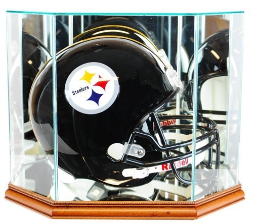 Full Size Football Helmet Display Case - Glass Top with Octagon Walnut Base - Made In America