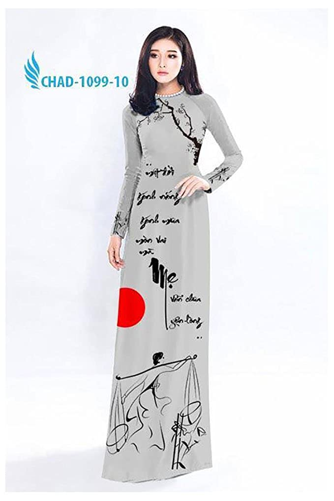 Silk 3D All Size Ao Dai ADVN00251 Traditional Vietnamese Long Dress Collections with Pants