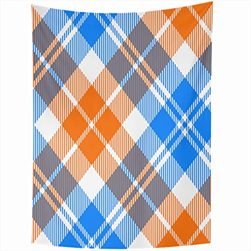 - Ahawoso Tapestry 60 x 90 Inches Scottish Pattern Orange Blue Light Tartan Diagonal Abstract Plaid Modern Arts Celtic Checked Dress Wall Hanging Home Decor Tapestries for Living Room Bedroom Dorm