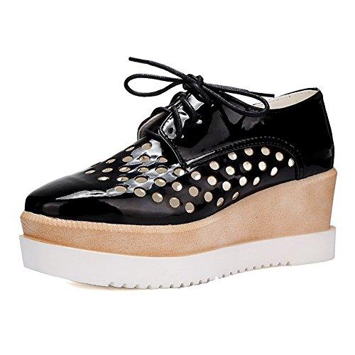 AllhqFashion Mujeres PU Material Suave Puntera Cuadrada Tacón Medio Zapatos de Tacón Negro