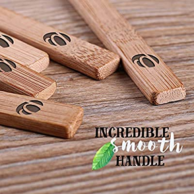 Bamboo Toothbrush by PAVICICO Organic Natural Bamboo Smooth Handle Individually Numbered - Soft Free BPA Bristles - Pack of 4