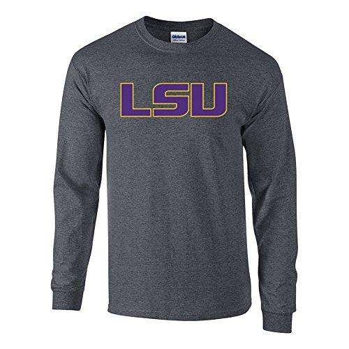 Elite Fan Shop LSU Tigers Long Sleeve Tshirt Icon Charcoal - 2XL (Lsu Long Sleeve Shirts)
