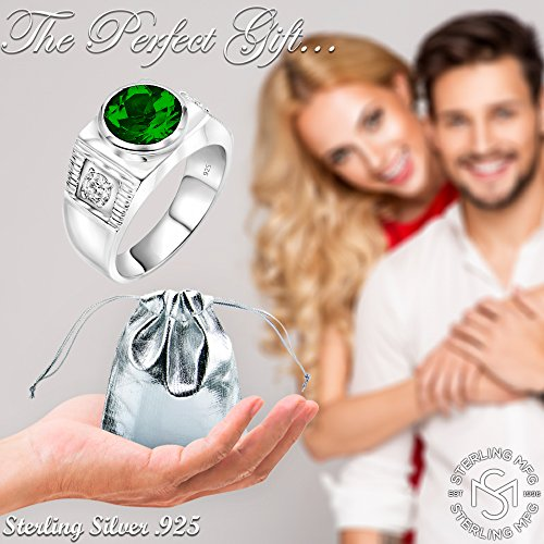 Men's Sterling Silver .925 Ring with Green Round Center CZ Stone and 2 White Cubic Zirconia (CZ) Stones by Sterling Manufacturers (Image #6)