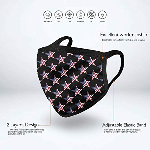 Anti-Allergies Earloop Mouth Masks for Boys Girls Adults, Patriotic American Flag USA Stars Polyester Face and Nose Cover for Dust, Medical, Camping - Anti Pollution