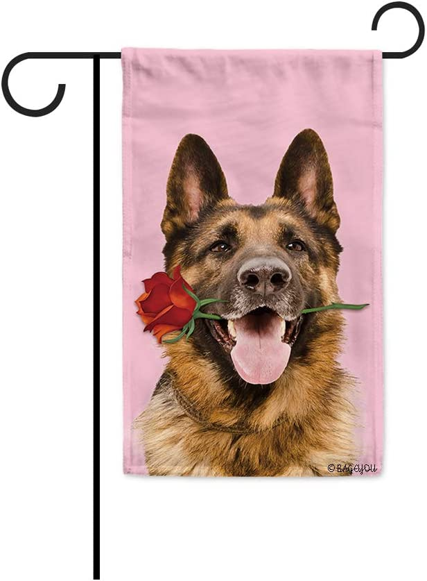 BAGEYOU Your Sweetheart Lover Dog Garden Flag Pet German Shepherd Dog and Red Rose Floral Decor Home Banner for Outside 12.5X18 Inch Print Both Sides