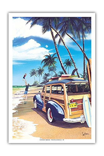 Pacifica Island Art U-n-Me - Retro Woodie on Beach with Surfboards - From an Original Color Painting by Scott Westmoreland - Master Art Print - 12 x 18in