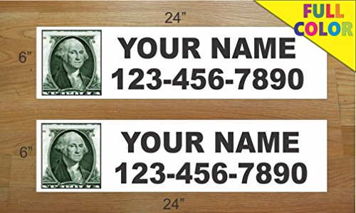 2 - 6x24 CUSTOM PHOTO BLACK TEXT Real Estate Rider Sign Name & Phone