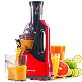 Oursson Slow Juicer Masticating Juicer Machine, Whole Fruit and Vegetable with Dual-Stage Quiet Motor & Reverse Function, Cold Press Juicer Creates Fresh Healthy Vegetable and Fruit Juicer JM7002/RD