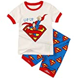 Sidney Boys Summer Superman Shorts Pajamas Sets Cotton White (5t, White)
