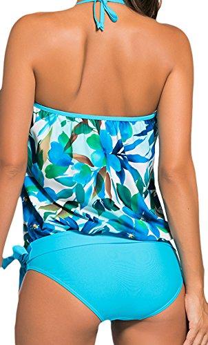 Frieda Fashion - Damen Neckholder Tankini mit floralem Muster, Blau, XS-3XL