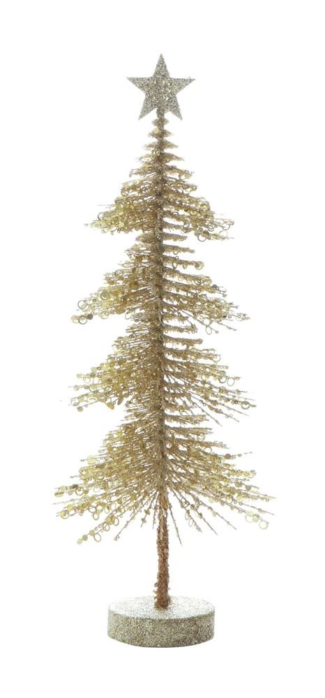 Heart of America Plastic Pine Tree With MDF Base Gold Glitter - 4 Pieces