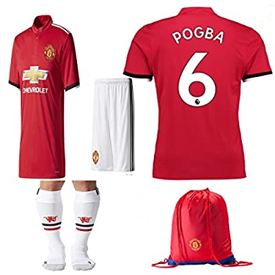 Kid / Youth Manchester United FC 2017 2018 17 18 REPLICA Paul Pogba Romel Lukaku Home & Away Soccer Team Jersey, Short, Socks + Soccer Bag