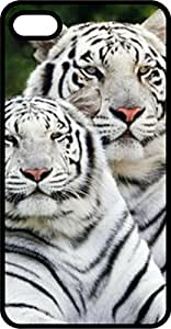 White Tiger Pair Black Plastic Case for Apple iPhone 5 or iPhone 5s