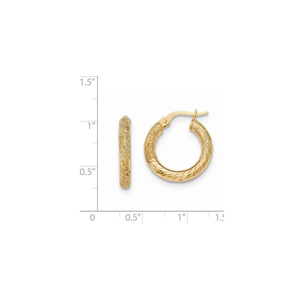 Mia Diamonds 14k Yellow Gold Textured//Diamond-cut Hoop Earring