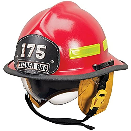 MSA 664DSR Cairns Invader 664 Composite Fire Helmet with Defender, Red, Standard Flannel Liner, Nomex Earlap, Lime/Yellow Reflexite, Bar