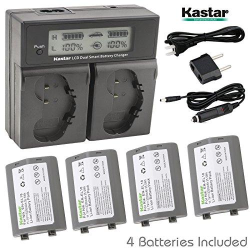 Kastar LCD Dual Smart Fast Charger & Battery (4 PACK) for Nikon EN-EL18, EN-EL18a, ENEL18, ENEL18a, MH-26, MH-26a, MH26 and Nikon D4, D4S, D5 Digital SLR Camera, Nikon MB-D12, D800, D800E Battery Grip by Kastar