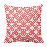 Generic Custom Square Coral Connected Circles Throw Pillow Cover Cotton Pillowcase Cushion Cover 16 X 16