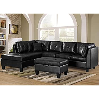 Merax Sectional Sofa with Chaise and Storage Ottoman, PU leather /2 Square  Pillows,