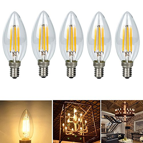 Chrasy 5-Pack 4W E14 Filament Bulb 360LM (45 Watt Equivalent) E14 Base LED Bulb Edison Light Bulb C35 Vintage Edison Bulb Candle Light Warm White 3000K AC 110V ()