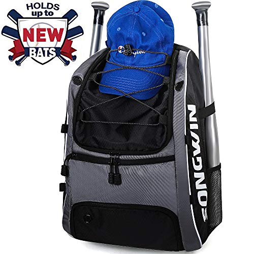 Songwin Baseball Bag, Equipment Backpack for Sport, Gear for Kids, Youth, and Adults, Softball Bag with Fence Hook and Shoe Compartment Holds T-Ball, Bat, Batting Glove, Helmet, Caps (Sports Equipment Backpack)